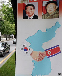 Banner showing picture of South Korean President Roh Moo-hyun (left) and North Korea leader Kim Jong-il in Seoul - 01/10/07