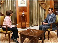 Syrian President Bashar al-Assad and BBC presenter Lyse Doucet