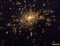 Satellite image of Greater London at night (Image: Nasa)