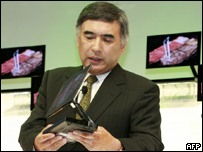 Sony executive holds the new screen
