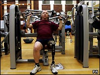 Paratrooper Sgt Stuart Pearson in one of the gyms at Headley Court
