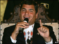Rafael Correa in a photo from 30 Sep 2007