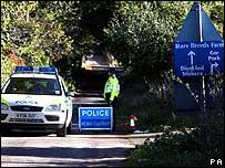 Police road block near site of bluetongue case