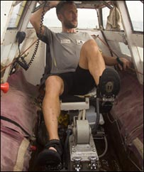 Jason Lewis crossing the English Channel (Copyright Expedition 360.com)