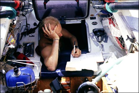 Steve Smith writing his journal. (Copyright Expedition 360.com)