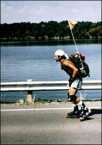 Jason Lewis roller-blading to Miami (Copyright Expedition 360.com)