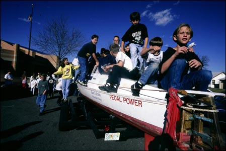 Pedal boat Moksha with children from Rye Elementary, Colorado (Copyright Expedition360.com)