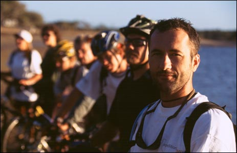 Jason Lewis and team starting Australian cycle from Coral Sea to Darwin - July 2001 (Copyright Expedition360.com)