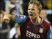 Martin Laursen celebrates after scoring the first of his two goals