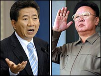 South Korean President Roh Moo-hyun (left) and North Korean leader Kim Jong-il