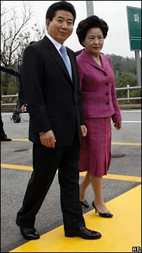 Roh Moo-hyun and his wife Kwon Yang-sook cross the Korean border