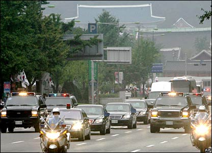 President Roh's motorcade leaves the South Korean capital, Seoul