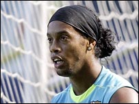 Ronaldinho during a training session with Barcelona