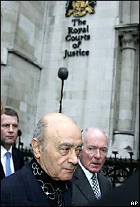 Mohamed Al Fayed, al arribar a la Alta Corte de Justicia de Londres