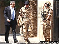 Mr Brown meeting troops in Basra