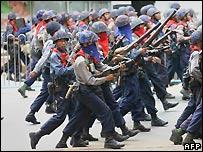 Burmese riot police