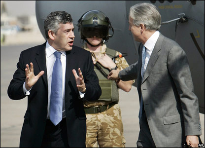 Gordon Brown and Christopher Prentice, British ambassador in Iraq