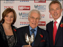 Joe Mitty, founder of Oxfam shops, with Tony and Cherie Blair
