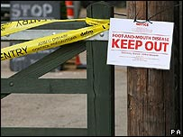 Foot-and-mouth restriction sign