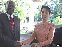 The UN's Ibrahim Gambari met pro-democracy leader Aung San Suu Kyi twice