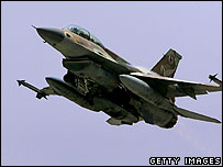 An Israeli Air Force F-16D jet fighter-bomber