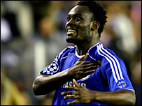 Chelsea's Michael Essien celebrates his winner against Valencia in April