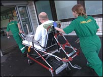 A patient enters an accident and emergency ward