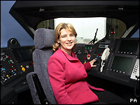 Transport secretary Ruth Kelly inside the cockpit of the new Class 395 Hitachi train at the Hitachi depot in Kent