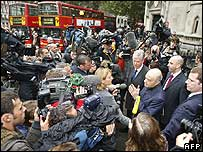 Mohammed Al Fayed speaking to reporters outside the High Court