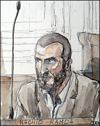 Court sketch showing Rachid Ramda (1 October 2007)