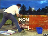 A French campaigner for a No vote in the referendum for the EU constitution in Toulouse on 8 May 2005