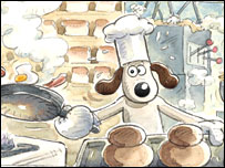 A pre-production drawing of Gromit in action (Aardman 2007)