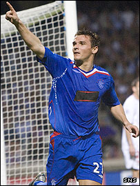 Lee McCulloch celebrates Rangers' opening goal in France