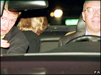 Bodyguard Trevor Rees (l), Princess Diana and driver Henri Paul
