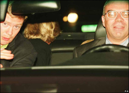 Bodyguard Trevor Rees (l), Princess Diana and driver Henri Paul. Image shown to inquest on 2 October