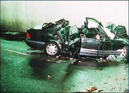 The wreckage of the car. Image shown to inquest on 2 October