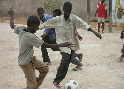 Somali boys playing football