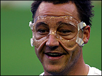 Chelsea captain John Terry training in his protective mask