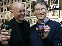 Bill Gates and vice president J Allard show off new Zunes