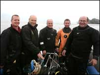 The U-boat dive team pictured on Tuesday - pic Presseye