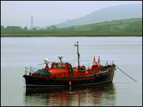 A coastguard vessel on the Loughor estuary