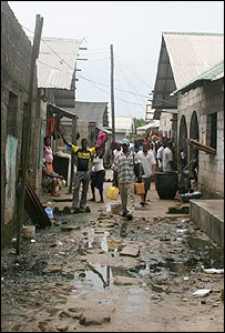 Slum street in Port Harcourt