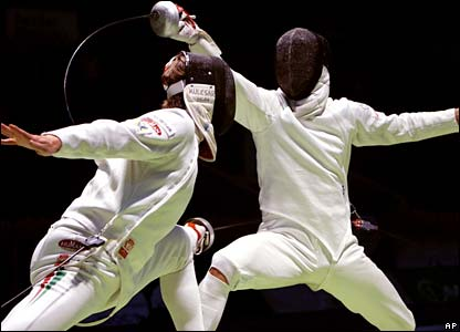 A bout at the Fencing World Championship in St Petersburg