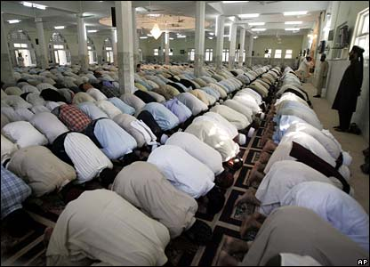 Muslims pray at the re-opened Red Mosque in Islamabad, Pakistan