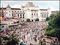 Demonstrators gathering in central Rangoon to protest against the government,  06 August 1988