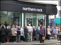 Queue at a Northern Rock branch in September