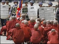 Monks protesting in Myanmar in September 2007