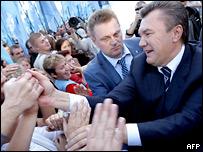 Виктор Янукович со своими сторонниками в Киеве