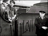 Arthur Darragh (left) on steam train