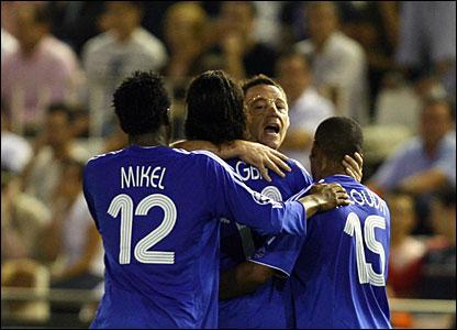 Mikel Jon Obi, Didier Drogba, John Terry, Flourent Malouda of Chelsea